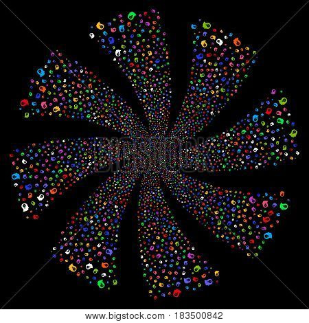 Intellect Bulb fireworks swirl rotation. Vector illustration style is flat bright multicolored iconic symbols on a black background. Object flower done from random pictograms.