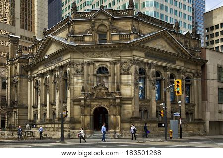 TORONTO CANADA JULY 10, 2017:  Hockey Hall of Fame in Toronto, dedicated to the history of ice hockey, it is a museum and a hall of fame. It holds exhibits about players, teams, records, and trophies.