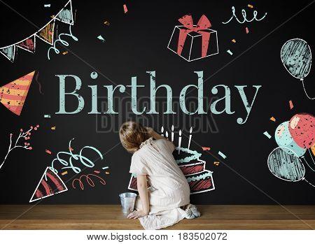 Birthday Cake Party Illustration Concept
