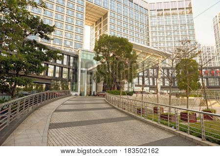 SHENZHEN, CHINA - MARCH 01, 2016: Crowne Plaza in Longgang District. Crowne Plaza is a chain of full service, upscale hotels.