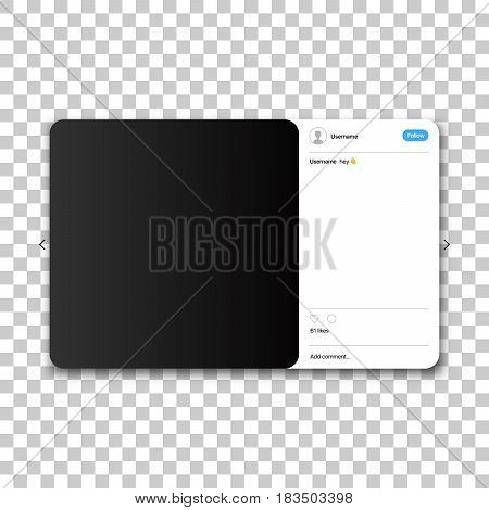 Social network photo frame. Post template framework. Insert your picture. Vector illustration.