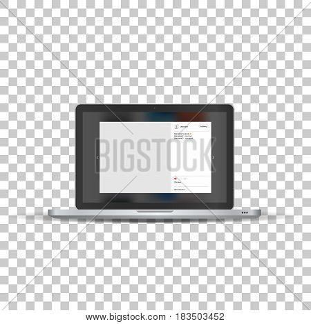 Laptop with social network photo frame on transparent background. Template framework. Insert your picture. Vector illustration.