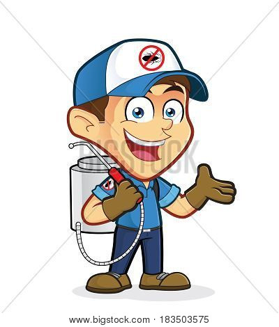 Clipart picture of an exterminator or pest control cartoon character in welcoming gesture