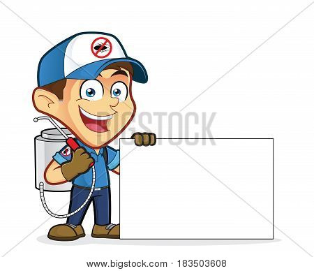 Clipart picture of an exterminator or pest control cartoon character holding blank sign