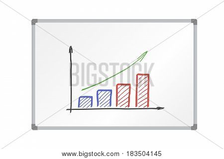 Realistic vector illustration whiteboard with aluminum frame and drawing colorful growing graph isolated on white background