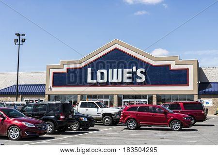 Marion - Circa April 2017: Lowe's Home Improvement Warehouse. Lowe's operates retail home improvement and appliance stores in North America VI