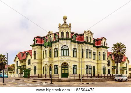 Old German colonial building in town of Swakopmund, Namibia