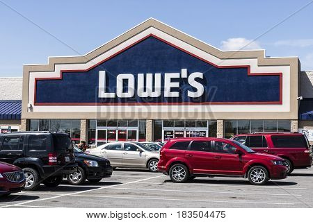 Marion - Circa April 2017: Lowe's Home Improvement Warehouse. Lowe's operates retail home improvement and appliance stores in North America VII