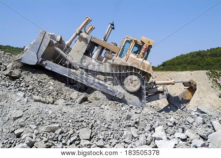 Bulldozer Dozer Machine Earthmoving Vehicle in Action