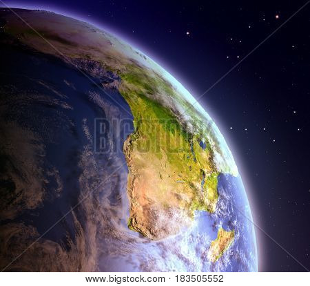 Africa From Space At Dawn