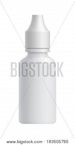 Plastic blank pharmacy packaging bottle isolated on white background vector illustration. Packaging design element for branding.