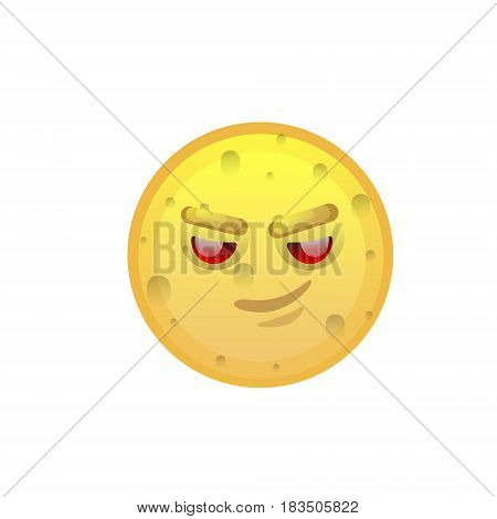 Yellow Smiling Face Cunning Negative People Emotion Icon Flat Vector Illustration