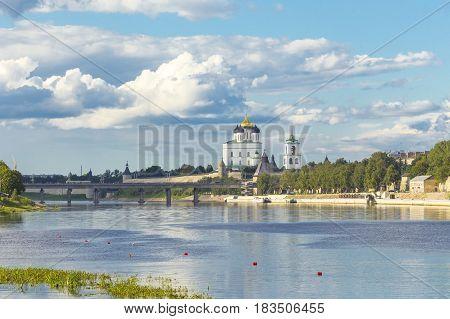 View of the Pskov Krom or Kremlin from the Velikaya River poster