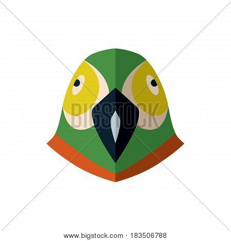 Parrot head icon isolated on white background vector illustration. Wild animal pictogram, zoo emblem in flat design