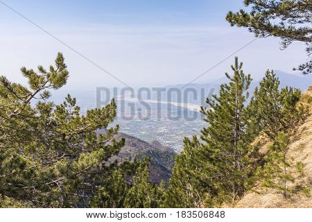 View from Monte Chiampon to plain of Friuli-Venezia Giulia in Italy in spring