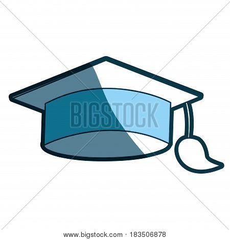 blue silhouette of graduation cap vector illustration