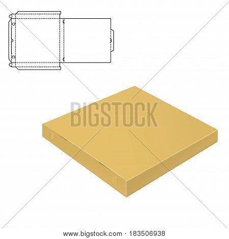 Vector Illustration of pizza craft Box for Design, Website, Background, Banner. Delivery Folding package Template. Fold pack with die line for your brand on it