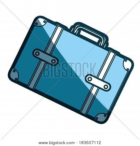 blue silhouette with suitcase in diagonal position vector illustration