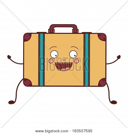 color caricature of suitcase with handle vector illustration