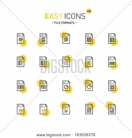 Vector thin line flat design icons set for file formats themes