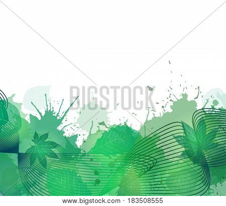 Summer cover with smoke colorful lines leaves and green watercolor blots for flyers letterhead and your business