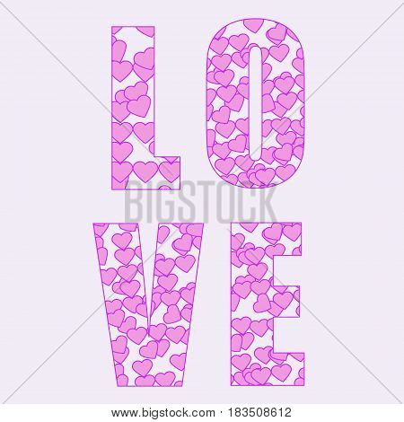 LOVE Happy Valentines day card Font Type love sign flowers