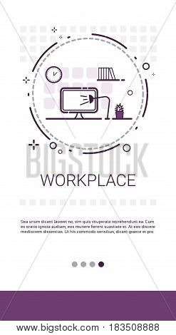 Workplace Desk Computer Workspace Office Banner Vector Illustration