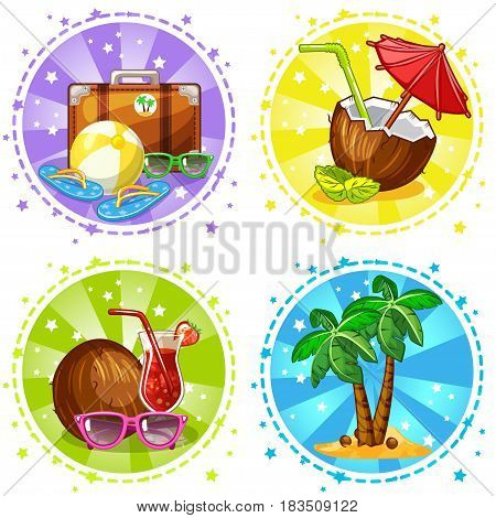 Vacation and travel background and icon. Set summer symbols. Vector Stock Illustration