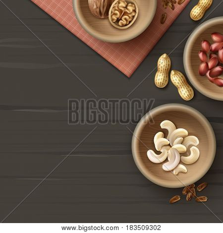 Vector different nuts in wooden bowls peanuts, cashew and walnuts top view on dark black surface with checkered napkin