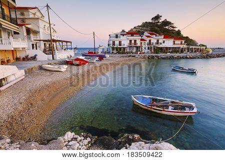 Picturesque Kokkari village on Samos island, Greece.