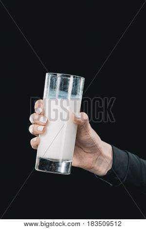 Close-up Partial View Of Woman Holding Glass Of Milk, Healthy Living Concept