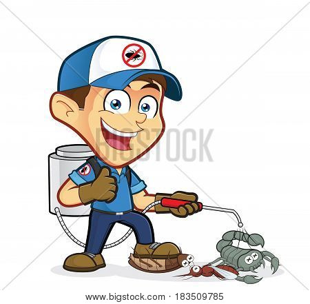 Clipart picture of an exterminator or pest control cartoon character with dying pest