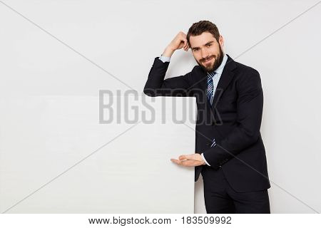 Handsome Man With Empty Panel