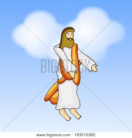 Illustration of Jesus on blue background for Ascension Day