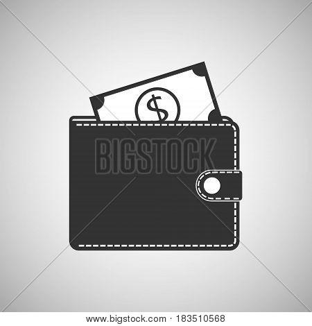 Purse and money icon isolated on white backgroundVector illustration. Eps 10.