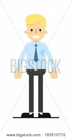 Smiling blond office clerk character isolated on white background vector illustration. People personage in flat design.