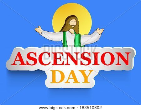 Illustration of Jesus with Ascension Day text