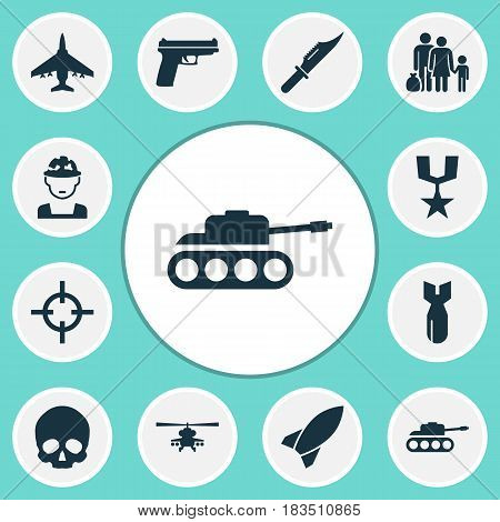 Warfare Icons Set. Collection Of Fugitive, Rocket, Military And Other Elements. Also Includes Symbols Such As Shot, Bomber, Panzer.