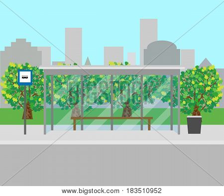 bus stop front view. Vector illustration. Eps 10.