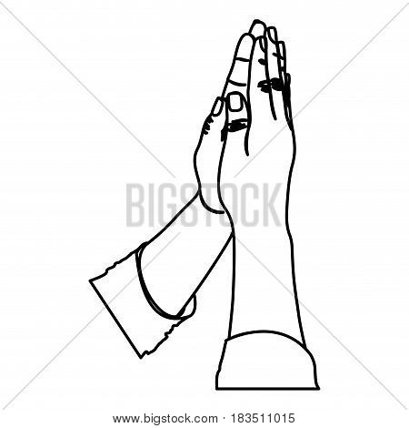 monochrome silhouette of hands in position of pray in frontal view vector illustration