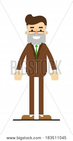 Happy bearded man in suit character isolated on white background vector illustration. People personage in flat design.