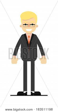 Young blond man in business suit isolated on white background vector illustration. People personage in flat design.