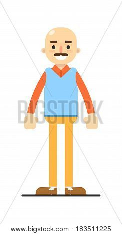Adult bald man with mustache isolated on white background vector illustration. People personage in flat design.