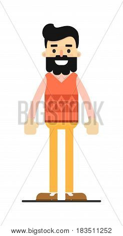 Young brunet hipster in sweater and pants isolated on white background vector illustration. People personage in flat design.