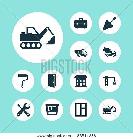 Architecture Icons Set. Collection Of Paint Roller, Home, Glass Frame And Other Elements. Also Includes Symbols Such As Digger, Crane, Entrance.