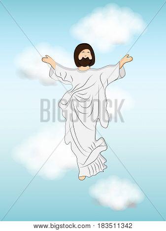 Illustration of Jesus for Ascension Day background