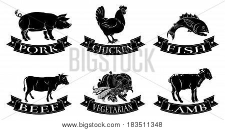 A set of food icons, packaging labels or menu illustrations for beef chicken fish pork lamb and vegetarian options