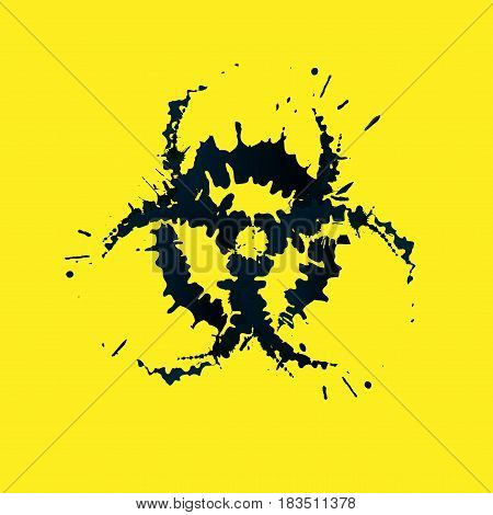 Grunge bio-hazard sign on a yellow background