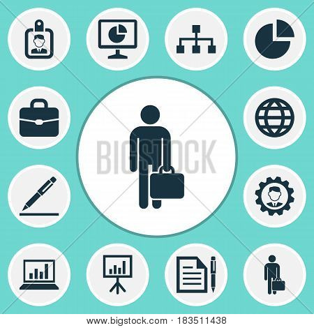 Business Icons Set. Collection Of Contract, Leader, Suitcase And Other Elements. Also Includes Symbols Such As Hierarchy, Circle, Leader.