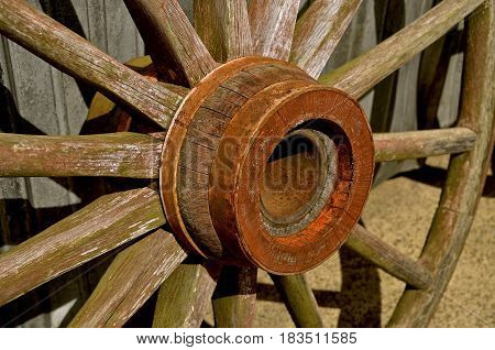 Hub and wheel of an old wooden wheel for a wagon or stagecoach